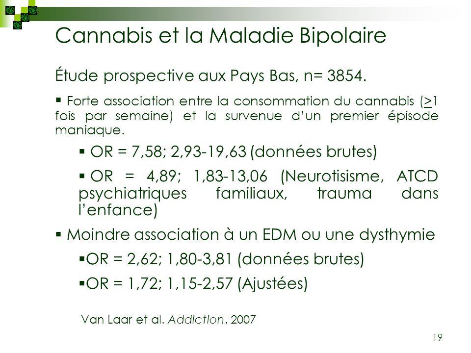 19 Étude prospective aux Pays Bas, n= 3854. Forte association entre la consommation du cannabis (>1 fois par semaine) et la survenue dun premier épiso