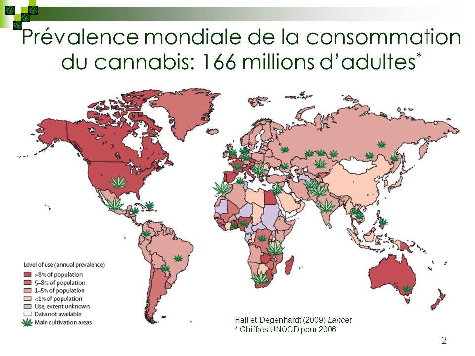 2 Prévalence mondiale de la consommation du cannabis: 166 millions dadultes * Hall et Degenhardt (2009) Lancet * Chiffres UNOCD pour 2006