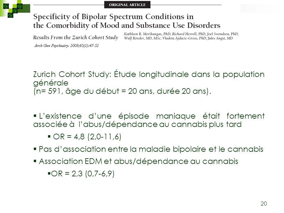 20 Zurich Cohort Study: Étude longitudinale dans la population générale (n= 591, âge du début = 20 ans, durée 20 ans). Lexistence dune épisode maniaqu