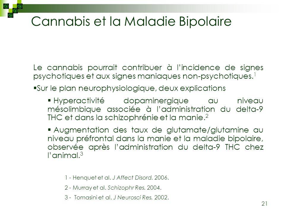 21 Le cannabis pourrait contribuer à lincidence de signes psychotiques et aux signes maniaques non-psychotiques. 1 Sur le plan neurophysiologique, deu