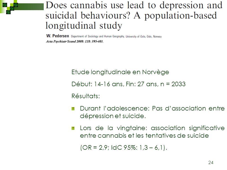 24 Etude longitudinale en Norvège Début: 14-16 ans, Fin: 27 ans, n = 2033 Résultats: Durant ladolescence: Pas dassociation entre dépression et suicide