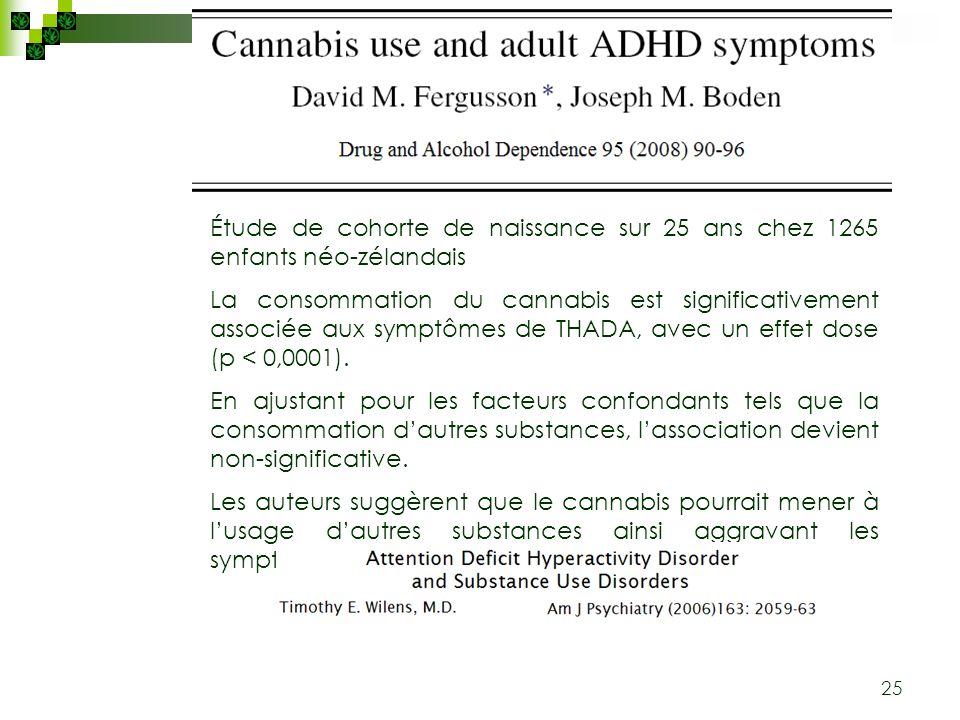 25 Étude de cohorte de naissance sur 25 ans chez 1265 enfants néo-zélandais La consommation du cannabis est significativement associée aux symptômes d