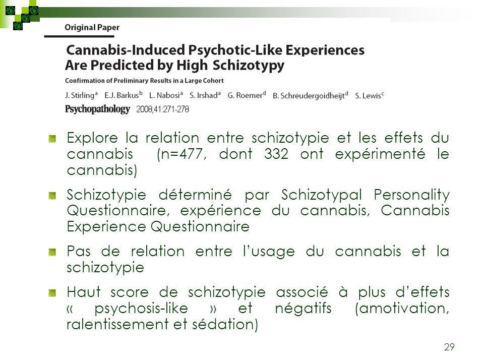 29 Explore la relation entre schizotypie et les effets du cannabis (n=477, dont 332 ont expérimenté le cannabis) Schizotypie déterminé par Schizotypal