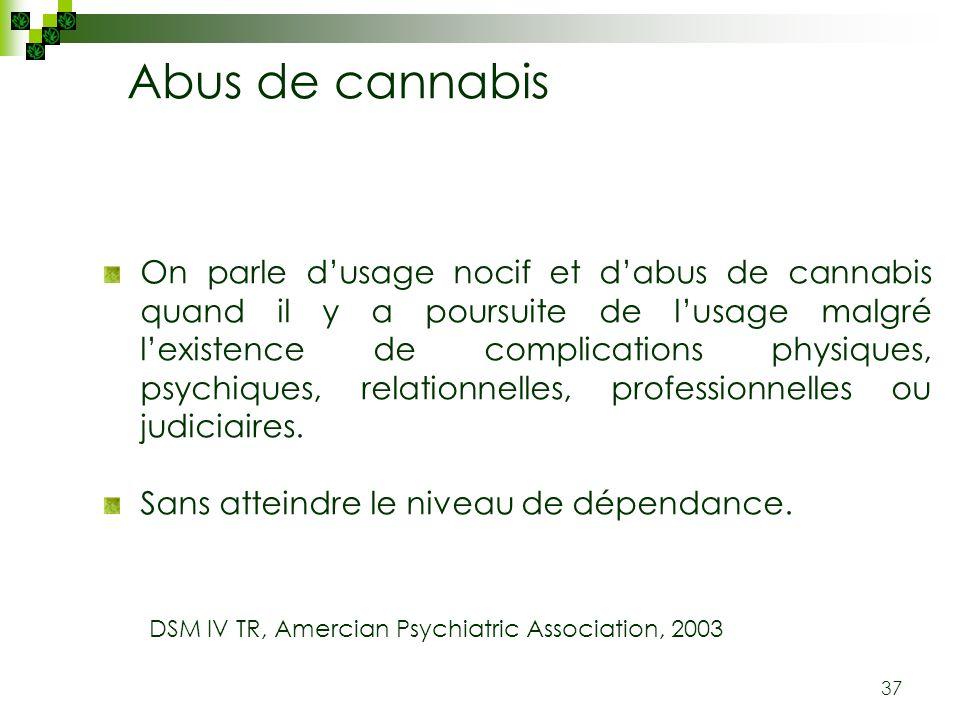 37 Abus de cannabis On parle dusage nocif et dabus de cannabis quand il y a poursuite de lusage malgré lexistence de complications physiques, psychiqu