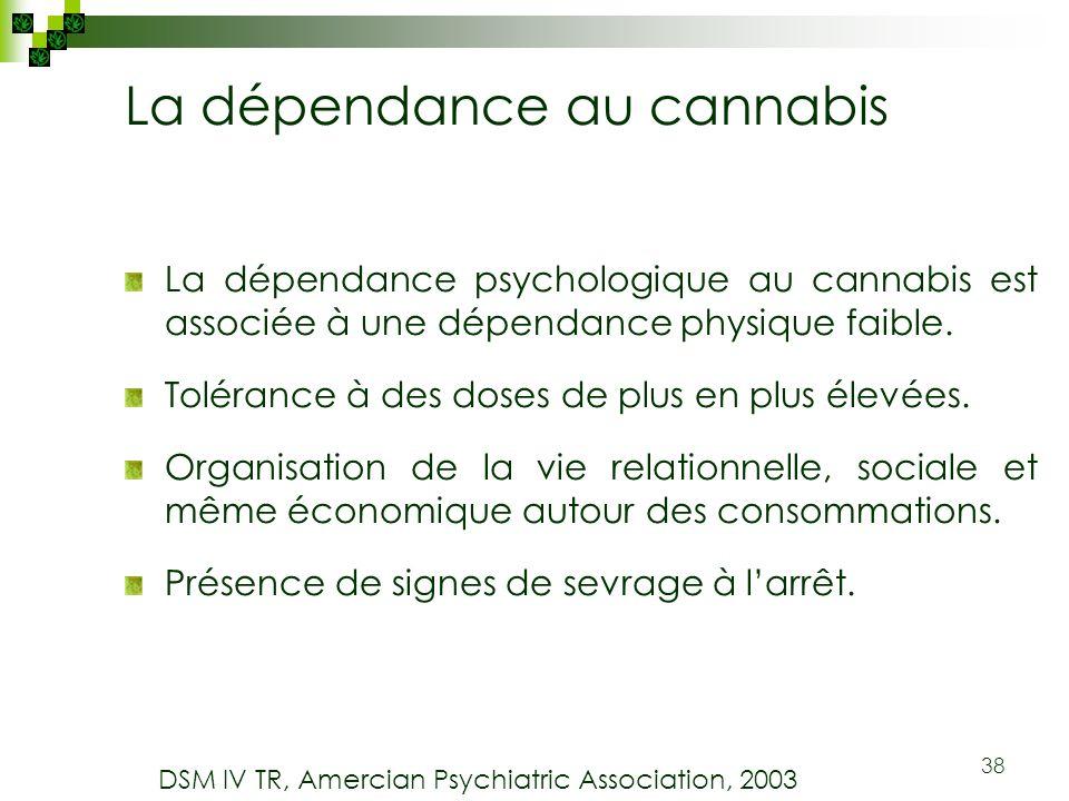 38 La dépendance au cannabis La dépendance psychologique au cannabis est associée à une dépendance physique faible. Tolérance à des doses de plus en p