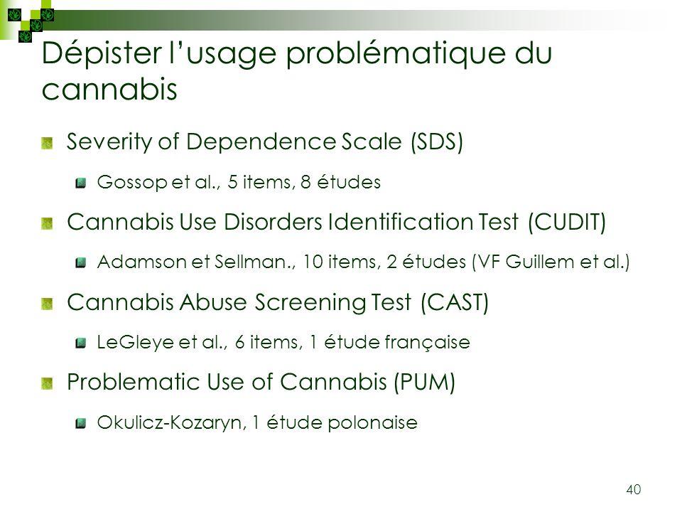 40 Dépister lusage problématique du cannabis Severity of Dependence Scale (SDS) Gossop et al., 5 items, 8 études Cannabis Use Disorders Identification