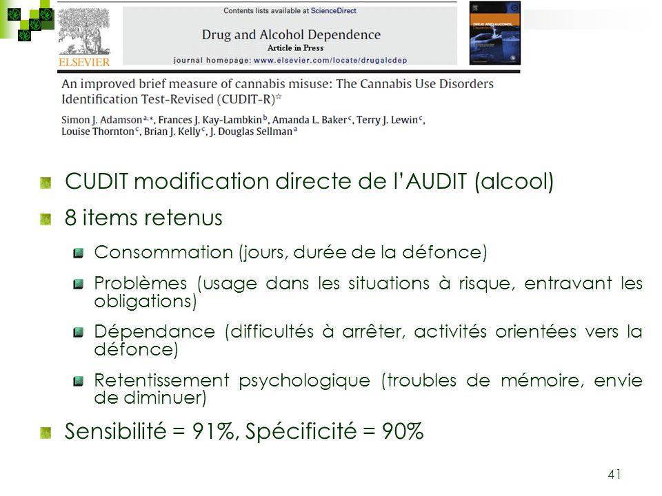 41 CUDIT modification directe de lAUDIT (alcool) 8 items retenus Consommation (jours, durée de la défonce) Problèmes (usage dans les situations à risq
