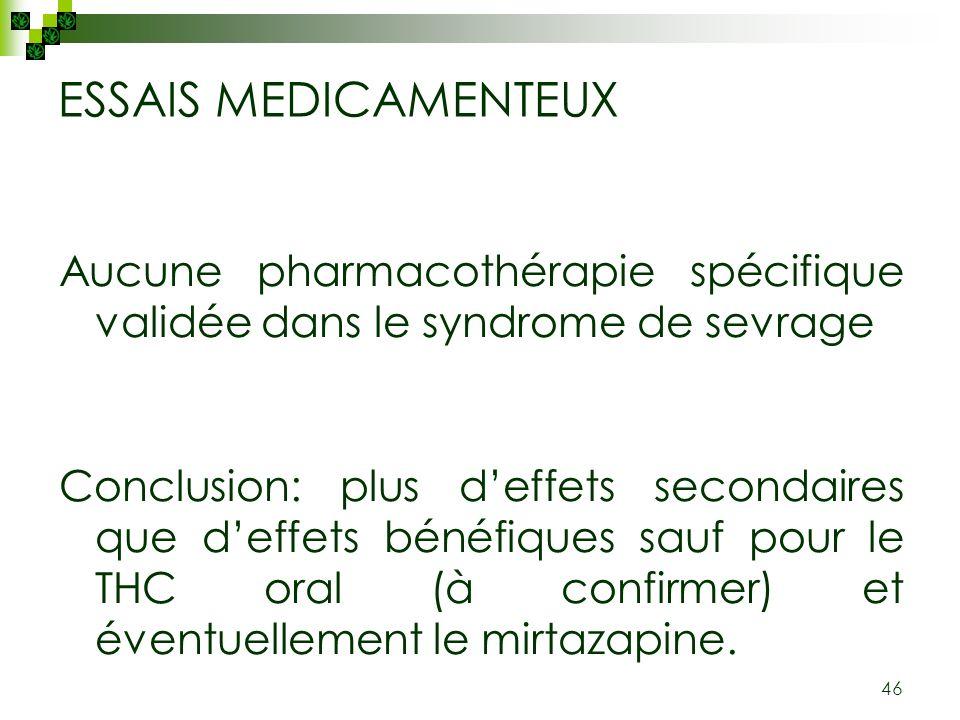 46 ESSAIS MEDICAMENTEUX Aucune pharmacothérapie spécifique validée dans le syndrome de sevrage Conclusion: plus deffets secondaires que deffets bénéfi