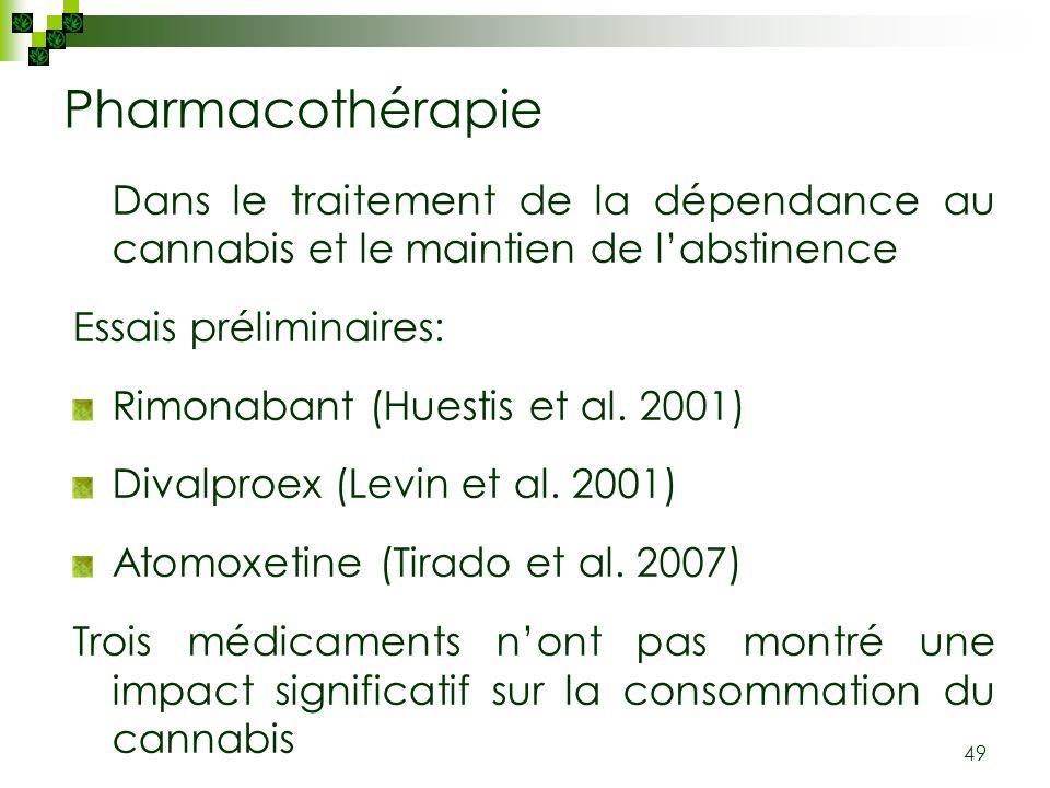 49 Pharmacothérapie Dans le traitement de la dépendance au cannabis et le maintien de labstinence Essais préliminaires: Rimonabant (Huestis et al. 200