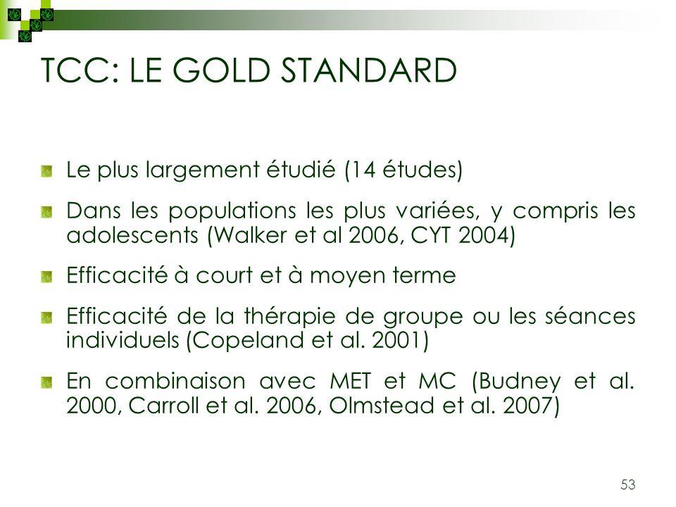53 TCC: LE GOLD STANDARD Le plus largement étudié (14 études) Dans les populations les plus variées, y compris les adolescents (Walker et al 2006, CYT