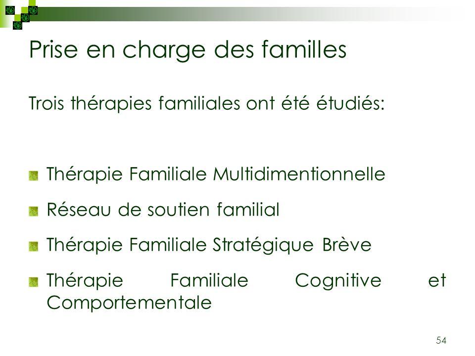 54 Prise en charge des familles Trois thérapies familiales ont été étudiés: Thérapie Familiale Multidimentionnelle Réseau de soutien familial Thérapie