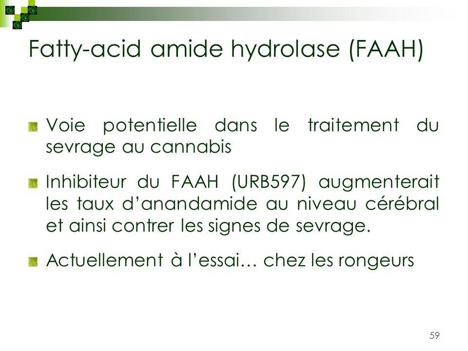59 Fatty-acid amide hydrolase (FAAH) Voie potentielle dans le traitement du sevrage au cannabis Inhibiteur du FAAH (URB597) augmenterait les taux dana