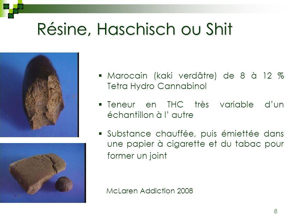 8 Résine, Haschisch ou Shit Marocain (kaki verdâtre) de 8 à 12 % Tetra Hydro Cannabinol Teneur en THC très variable dun échantillon à l autre Substanc
