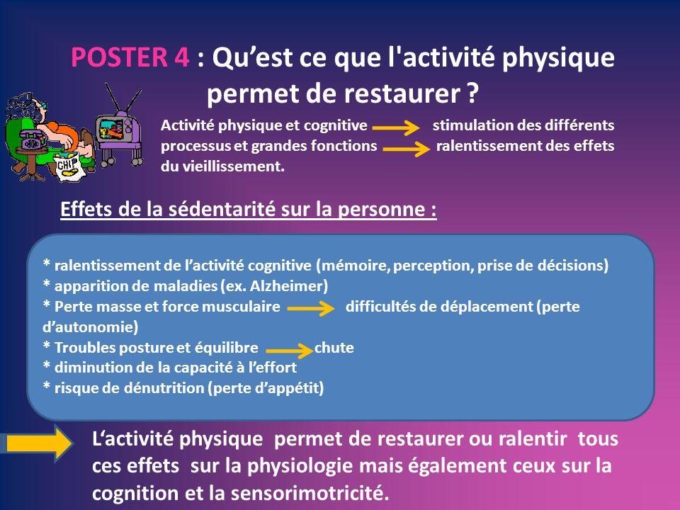POSTER 4 : Quest ce que l'activité physique permet de restaurer ? Lactivité physique permet de restaurer ou ralentir tous ces effets sur la physiologi