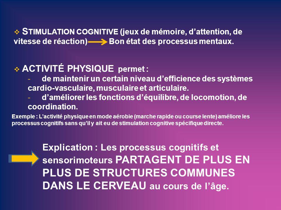 Exemple : Lactivité physique en mode aérobie (marche rapide ou course lente) améliore les processus cognitifs sans quil y ait eu de stimulation cognit