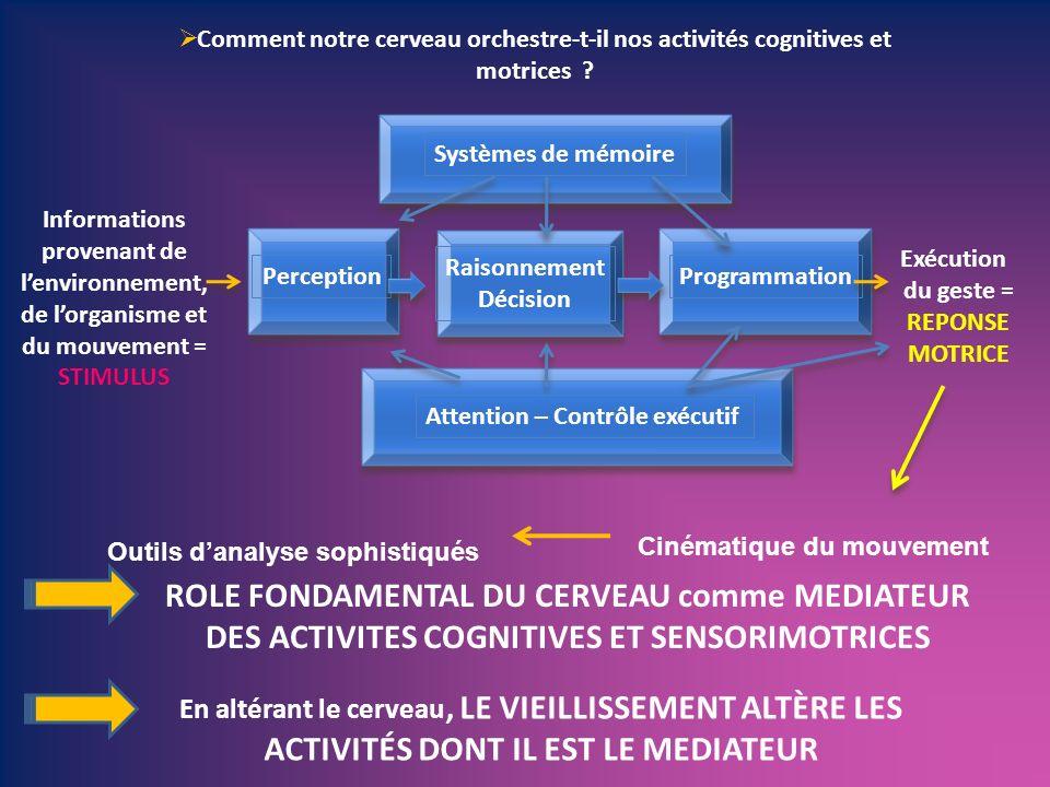Informations provenant de lenvironnement, de lorganisme et du mouvement = STIMULUS Perception Raisonnement Décision Programmation Exécution du geste =