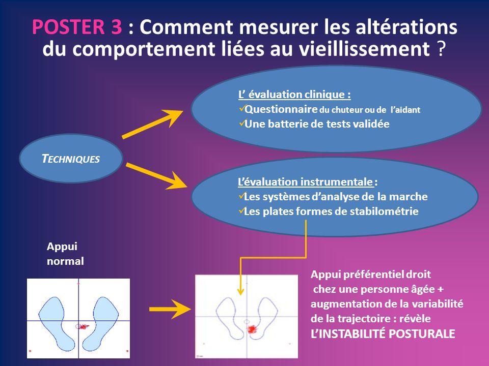 POSTER 3 : Comment mesurer les altérations du comportement liées au vieillissement ? T ECHNIQUES Lévaluation instrumentale : Les systèmes danalyse de