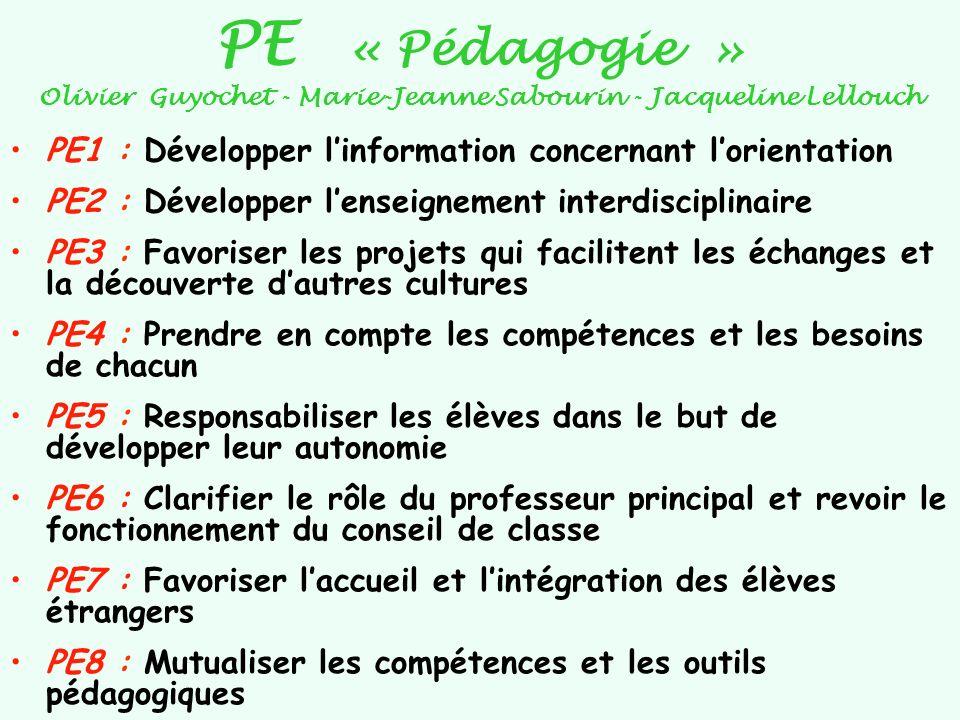 PE « Pédagogie » Olivier Guyochet - Marie-Jeanne Sabourin - Jacqueline Lellouch PE1 : Développer linformation concernant lorientation PE2 : Développer