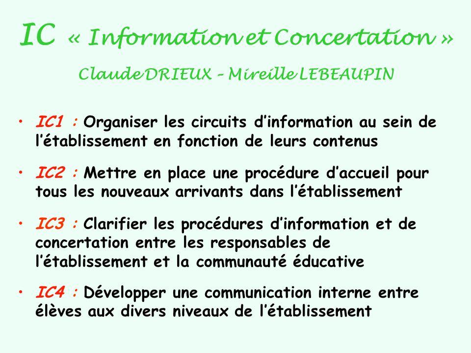 IC « Information et Concertation » Claude DRIEUX – Mireille LEBEAUPIN IC1 : Organiser les circuits dinformation au sein de létablissement en fonction
