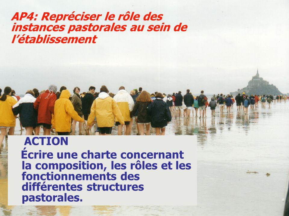 ACTION Écrire une charte concernant la composition, les rôles et les fonctionnements des différentes structures pastorales. AP4: Repréciser le rôle de