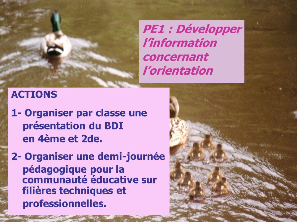 ACTIONS 1- Organiser par classe une présentation du BDI en 4ème et 2de. 2- Organiser une demi-journée pédagogique pour la communauté éducative sur fil