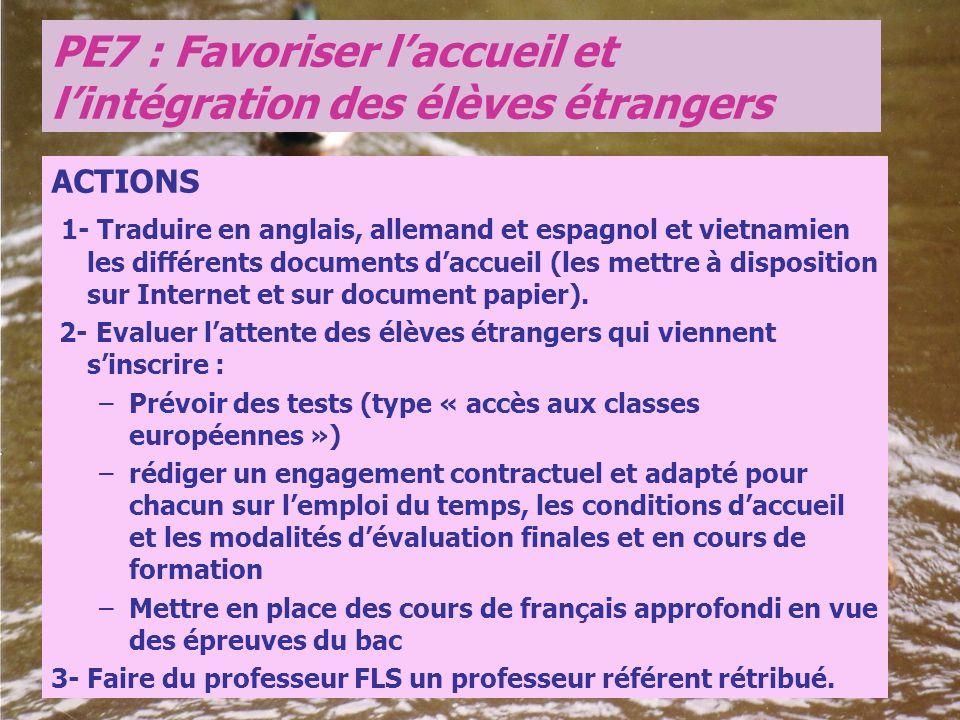 ACTIONS 1- Traduire en anglais, allemand et espagnol et vietnamien les différents documents daccueil (les mettre à disposition sur Internet et sur doc