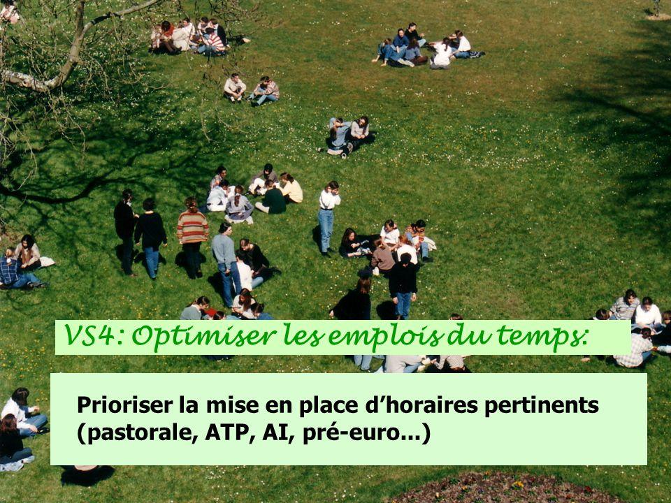 Prioriser la mise en place dhoraires pertinents (pastorale, ATP, AI, pré-euro...) VS4: Optimiser les emplois du temps: