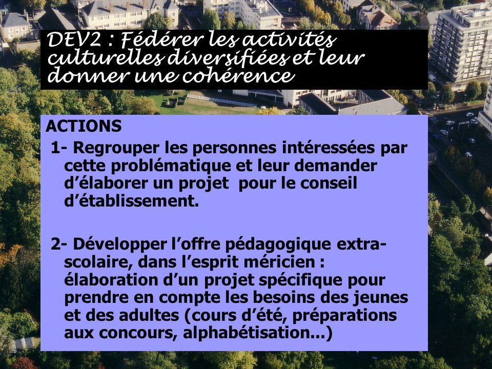 ACTIONS 1- Regrouper les personnes intéressées par cette problématique et leur demander délaborer un projet pour le conseil détablissement. 2- Dévelop