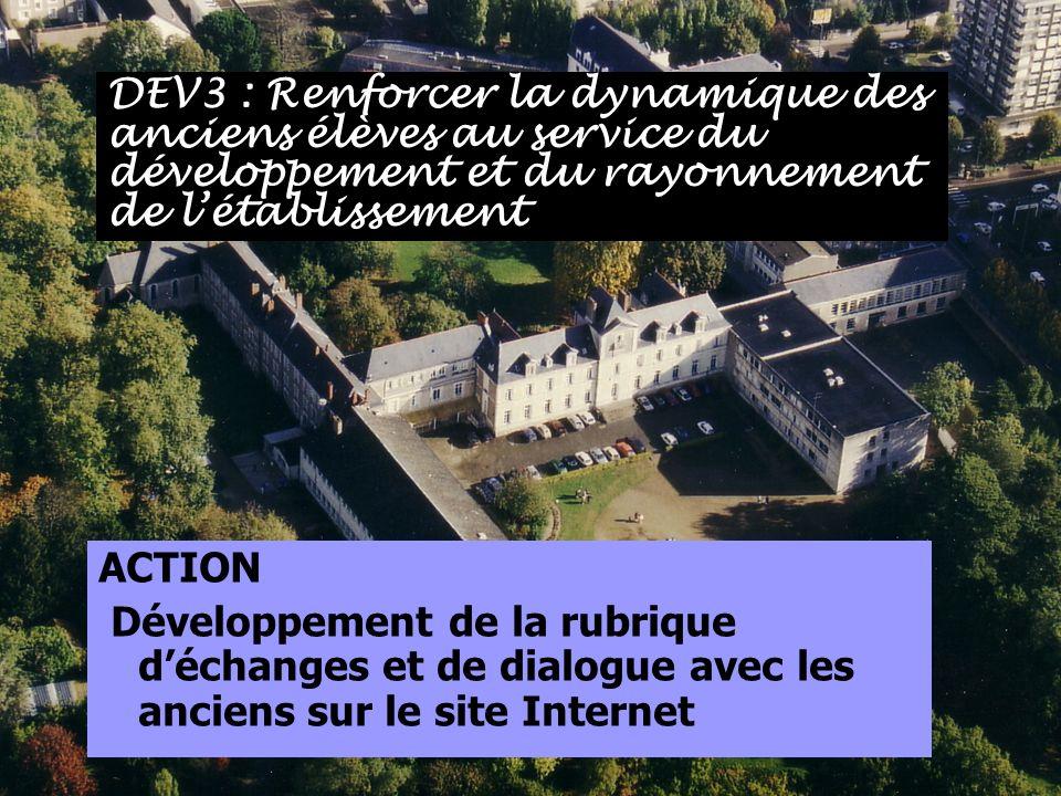 ACTION Développement de la rubrique déchanges et de dialogue avec les anciens sur le site Internet DEV3 : Renforcer la dynamique des anciens élèves au