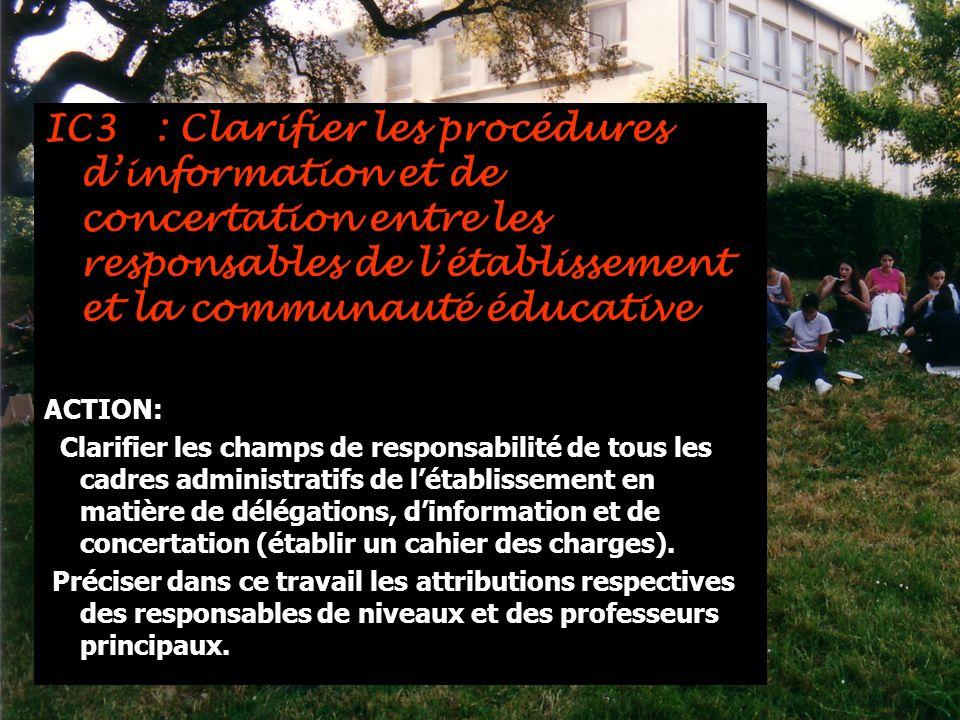 IC3 : Clarifier les procédures dinformation et de concertation entre les responsables de létablissement et la communauté éducative ACTION: Clarifier l