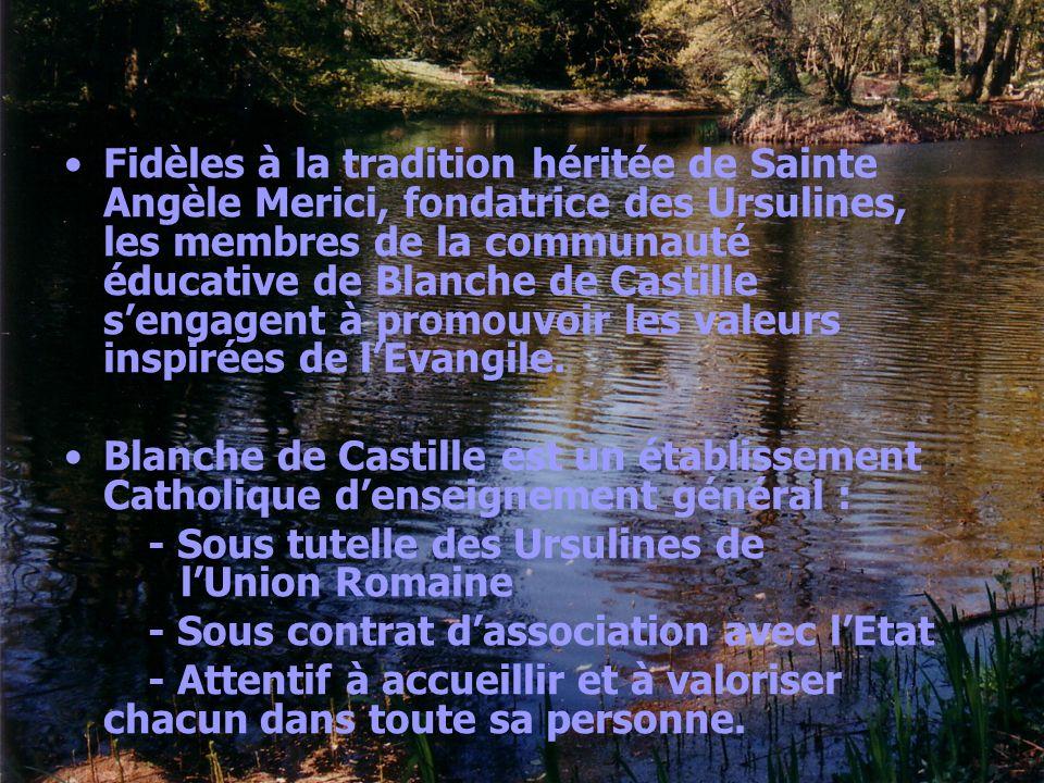 Fidèles à la tradition héritée de Sainte Angèle Merici, fondatrice des Ursulines, les membres de la communauté éducative de Blanche de Castille sengag