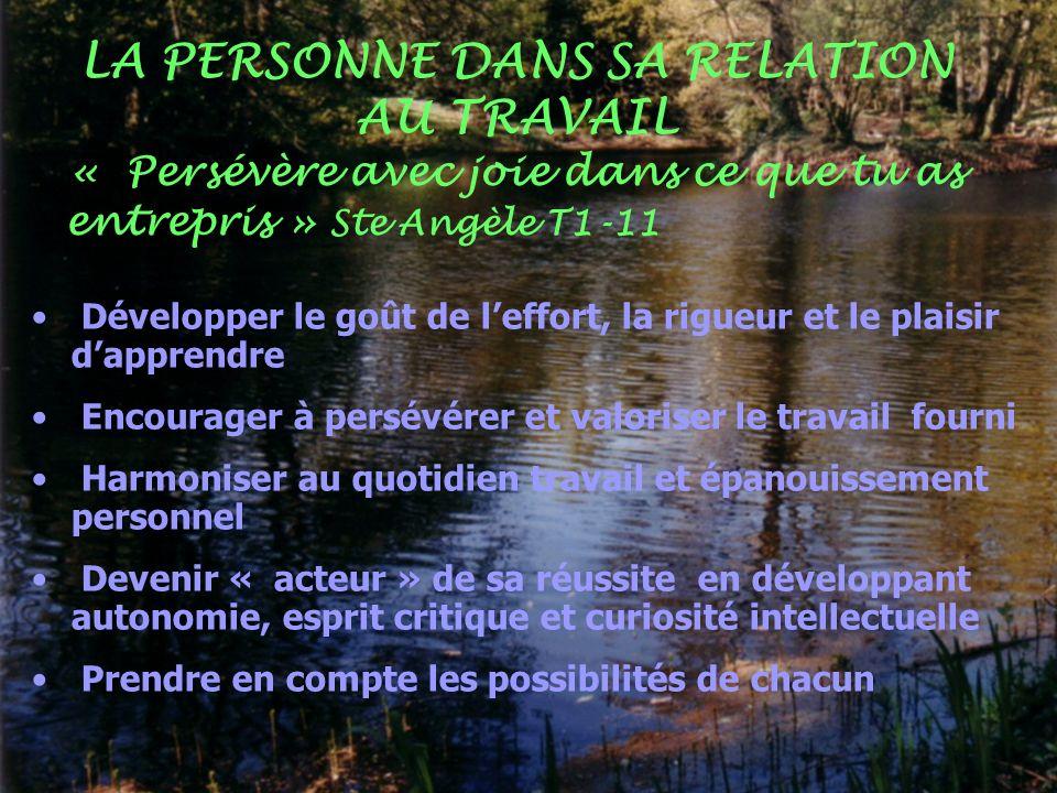 Développer le goût de leffort, la rigueur et le plaisir dapprendre Encourager à persévérer et valoriser le travail fourni Harmoniser au quotidien trav