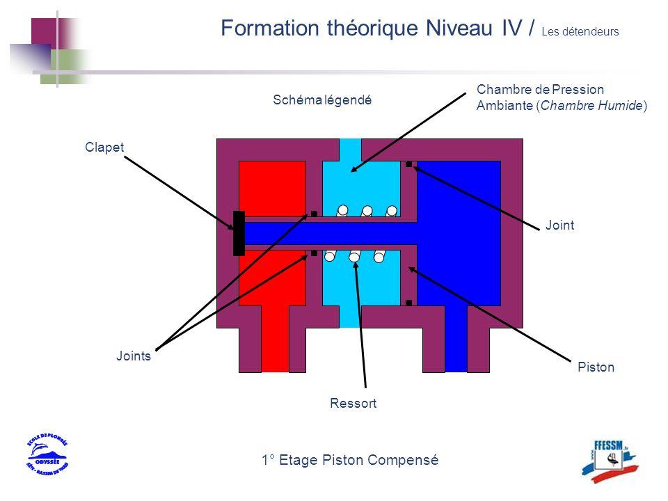 Schéma légendé 1° Etage Piston Compensé Clapet Piston Ressort Chambre de Pression Ambiante (Chambre Humide) Joints Joint Formation théorique Niveau IV