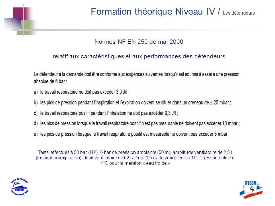 Normes NF EN 250 de mai 2000 relatif aux caractéristiques et aux performances des détendeurs Formation théorique Niveau IV / Les détendeurs Tests effe