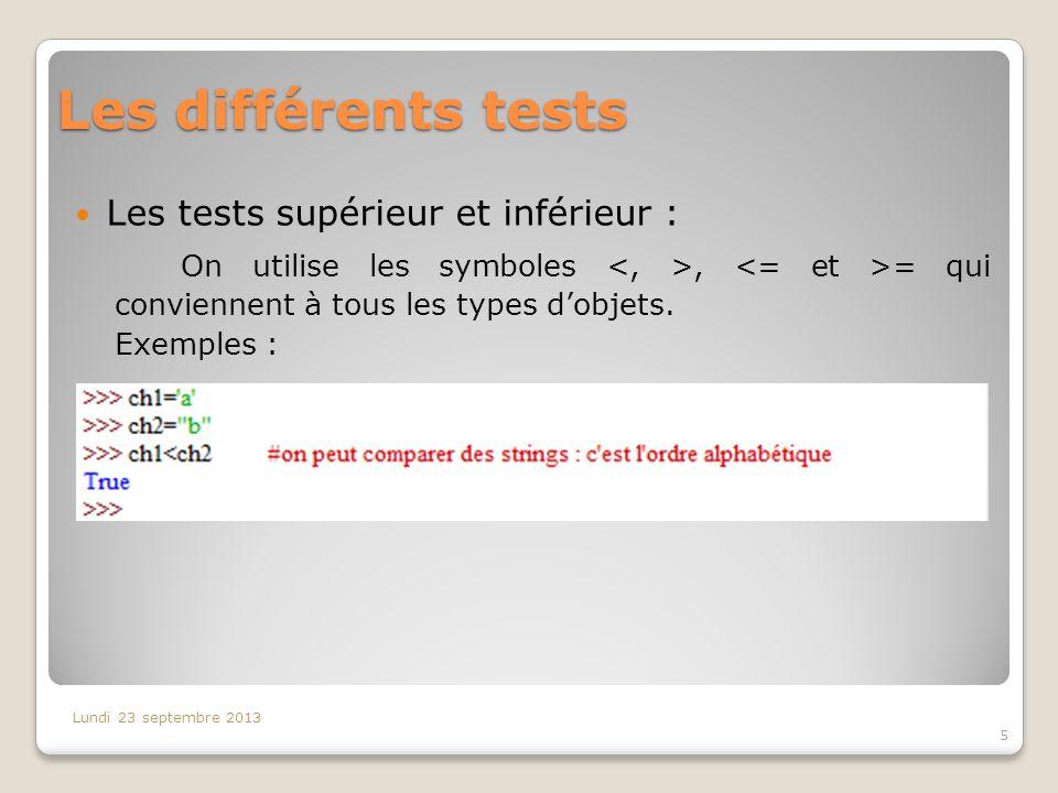 Les différents tests Les tests supérieur et inférieur : On utilise les symboles, = qui conviennent à tous les types dobjets. Exemples : Lundi 23 septe