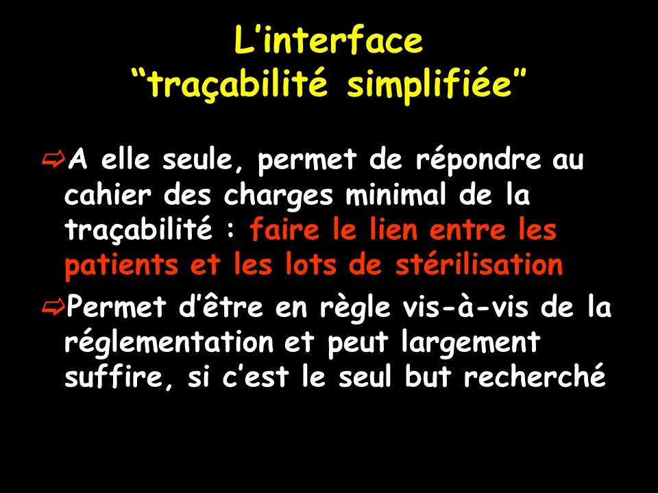 Linterface traçabilité simplifiée A elle seule, permet de répondre au cahier des charges minimal de la traçabilité : faire le lien entre les patients