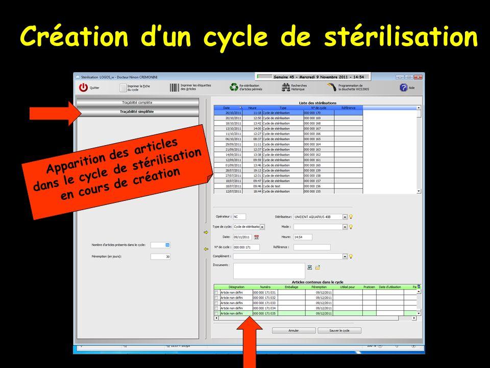 Création dun cycle de stérilisation Apparition des articles dans le cycle de stérilisation en cours de création