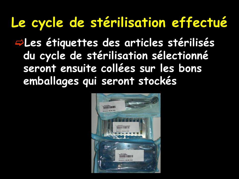 Le cycle de stérilisation effectué Les étiquettes des articles stérilisés du cycle de stérilisation sélectionné seront ensuite collées sur les bons em