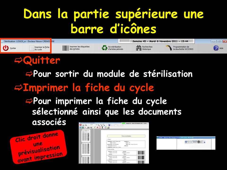 Création dun cycle de stérilisation Dans la partie droite de la fenêtre de stérilisation Clic sur Créer un cycle Pour remplir cette partie il faut être en train de créer ou de modifier un cycle