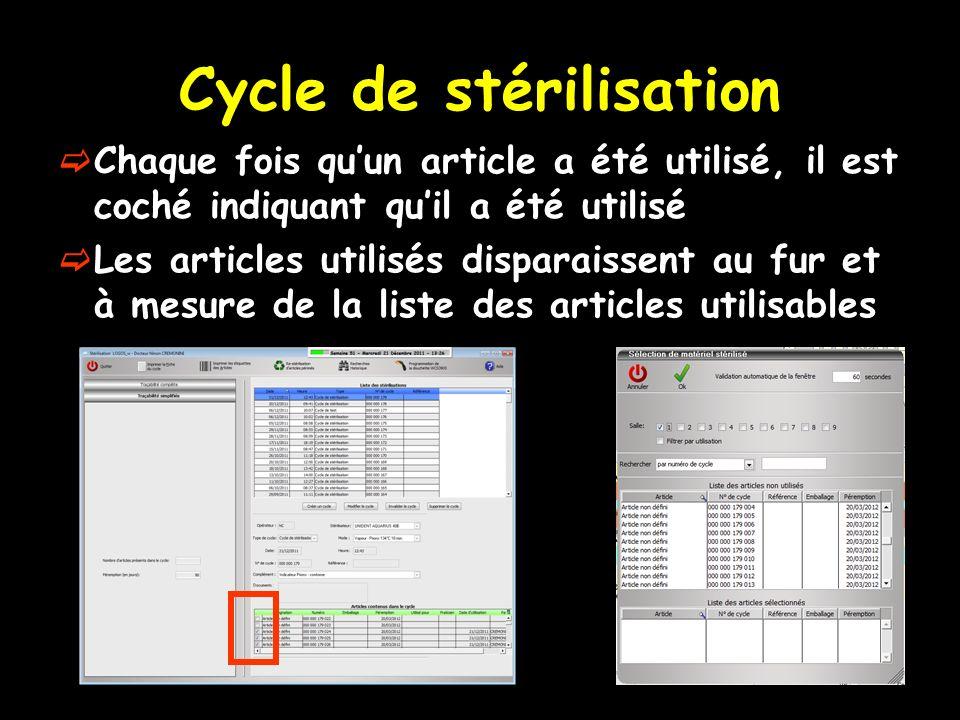 Cycle de stérilisation Chaque fois quun article a été utilisé, il est coché indiquant quil a été utilisé Les articles utilisés disparaissent au fur et