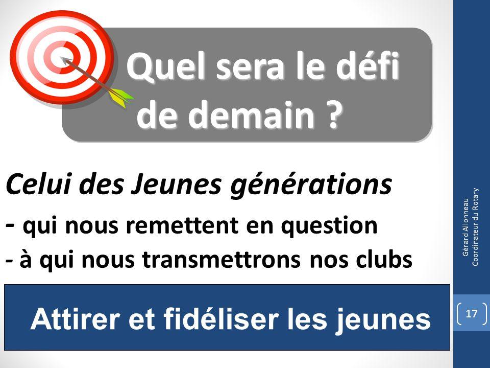 17 Gérard Allonneau Coordinateur du Rotary Attirer et fidéliser les jeunes Quel sera le défi Quel sera le défi de demain ? Celui des Jeunes génération