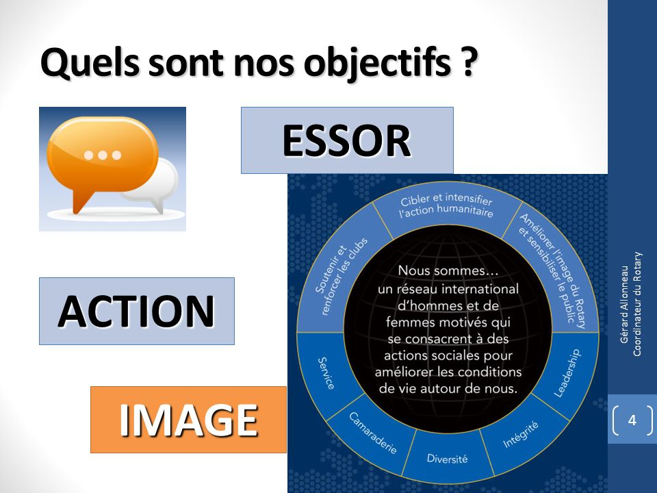 Quels sont nos objectifs ? 4 ESSOR ACTION IMAGE Gérard Allonneau Coordinateur du Rotary