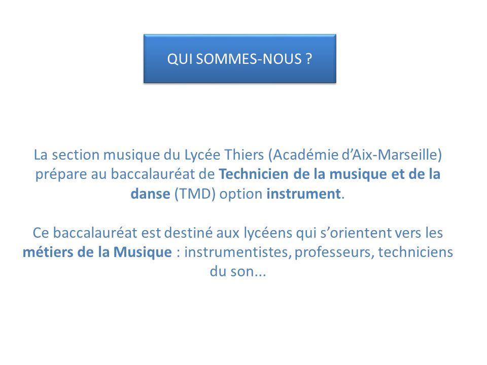 La section musique du Lycée Thiers (Académie dAix-Marseille) prépare au baccalauréat de Technicien de la musique et de la danse (TMD) option instrument.