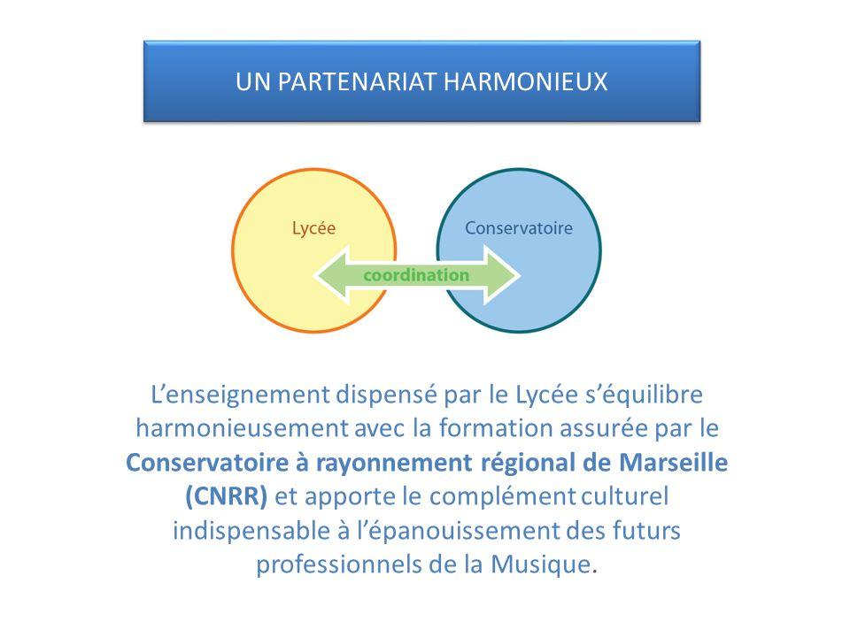Lenseignement dispensé par le Lycée séquilibre harmonieusement avec la formation assurée par le Conservatoire à rayonnement régional de Marseille (CNRR) et apporte le complément culturel indispensable à lépanouissement des futurs professionnels de la Musique.