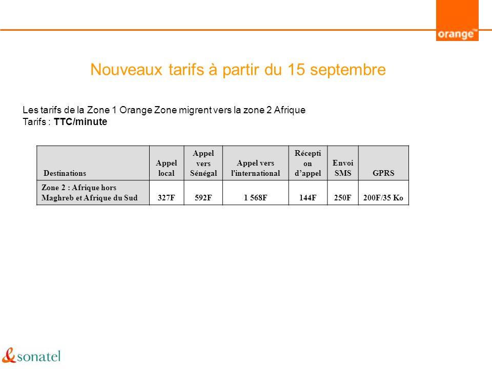 Nouveaux tarifs à partir du 15 septembre Les tarifs de la Zone 1 Orange Zone migrent vers la zone 2 Afrique Tarifs : TTC/minute Destinations Appel loc