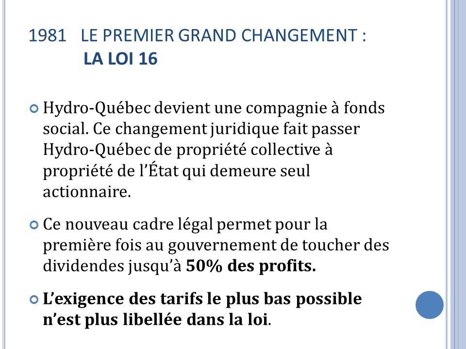 1981 LE PREMIER GRAND CHANGEMENT : LA LOI 16 Hydro-Québec devient une compagnie à fonds social. Ce changement juridique fait passer Hydro-Québec de pr