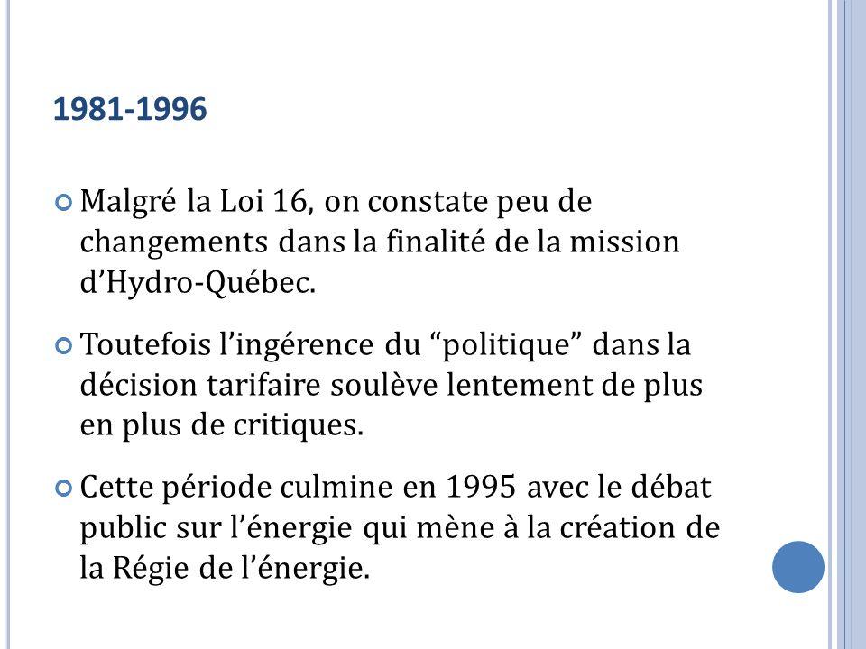 1981-1996 Malgré la Loi 16, on constate peu de changements dans la finalité de la mission dHydro-Québec. Toutefois lingérence du politique dans la déc
