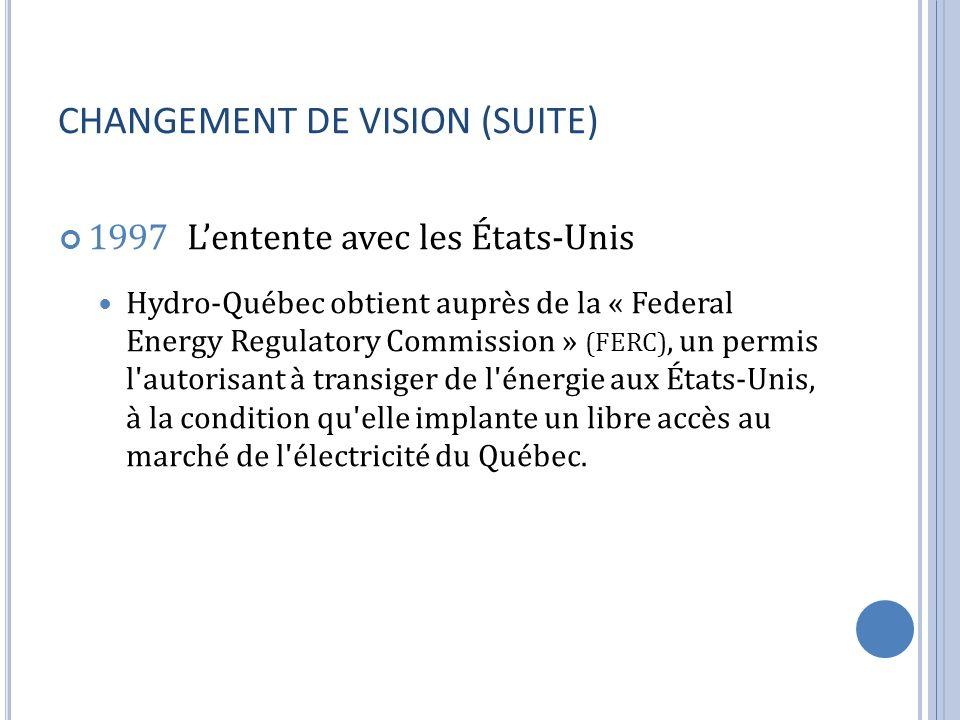 CHANGEMENT DE VISION (SUITE) 1997 Lentente avec les États-Unis Hydro-Québec obtient auprès de la « Federal Energy Regulatory Commission » (FERC), un p