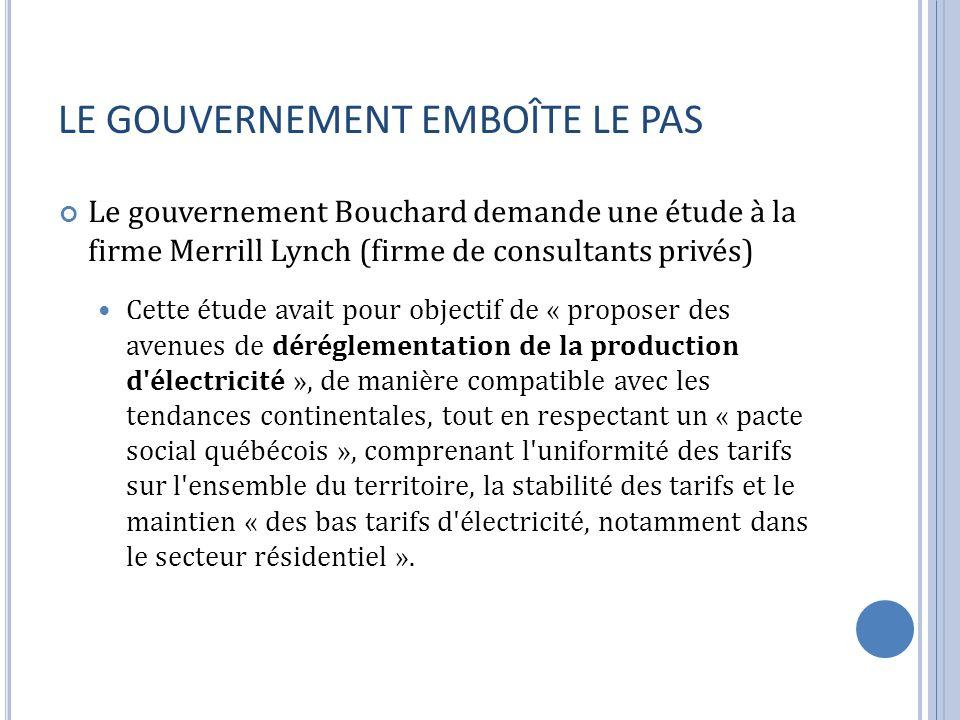 LE GOUVERNEMENT EMBOÎTE LE PAS Le gouvernement Bouchard demande une étude à la firme Merrill Lynch (firme de consultants privés) Cette étude avait pour objectif de « proposer des avenues de déréglementation de la production d électricité », de manière compatible avec les tendances continentales, tout en respectant un « pacte social québécois », comprenant l uniformité des tarifs sur l ensemble du territoire, la stabilité des tarifs et le maintien « des bas tarifs d électricité, notamment dans le secteur résidentiel ».