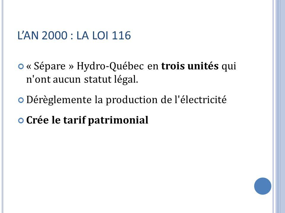 LAN 2000 : LA LOI 116 « Sépare » Hydro-Québec en trois unités qui n'ont aucun statut légal. Dérèglemente la production de l'électricité Crée le tarif